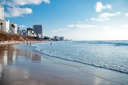 City beach. Israel. Bat-Yam.Panoramic view.