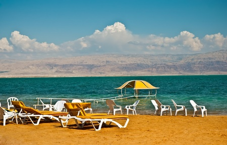 Beach on the shores of the Dead Sea. photo