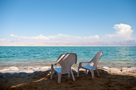 Chairs in the Dead Sea in Israel. photo