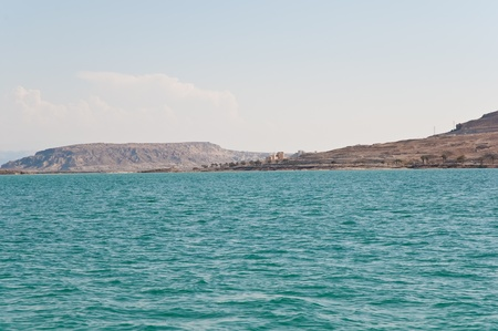 View on Dead Sea coastline and Arava Desert in Israel. photo