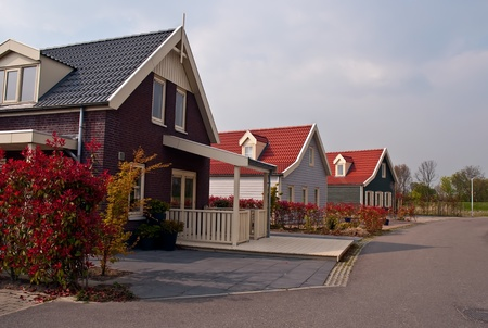 Panoramic view on rural houses , Netherlands (Holland). photo