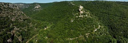 Panorama Park Goren: view of the Galilee and Crusader ruins Montfor  (Shtarkenberg). Israel. Stock Photo - 9892743