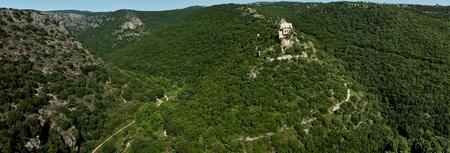 Panorama Park Goren: view of the Galilee and Crusader ruins Montfor  (Shtarkenberg). Israel. Stock Photo - 9892743