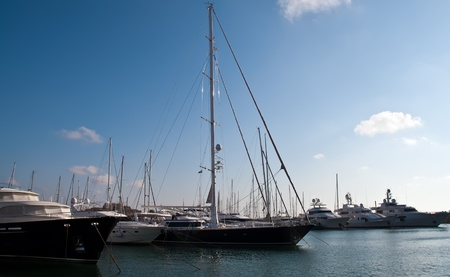 Herzliya marina with docked yachts at the end of the day.Israel.