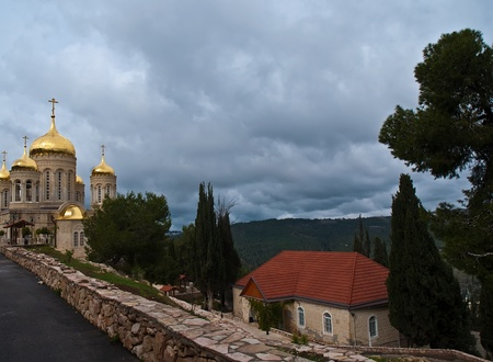 shined: Church of All Saints of Russia shined. Jerusalem (Ein Karem). Israel. Stock Photo