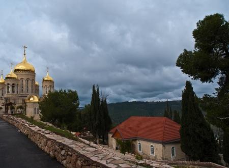 Church of All Saints of Russia shined. Jerusalem (Ein Karem). Israel. Standard-Bild - 9895998