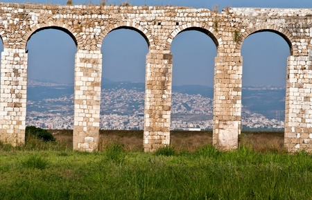 Ancient aqueduct Cabri - Akko .Located in the western Galilee , Israel . photo