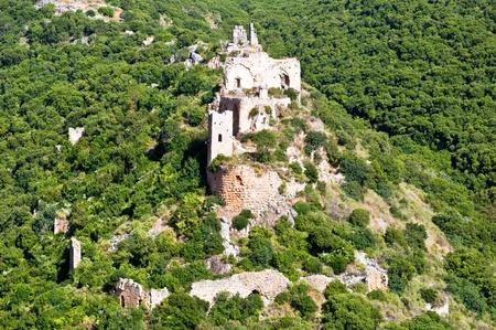 Panorama Park Goren: view of the Galilee and Crusader ruins Montfor  (Shtarkenberg). Israel. Stock Photo