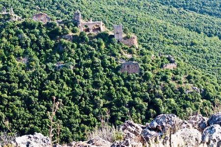 Panorama Park Goren: view of the Galilee and Crusader ruins Montfor  (Shtarkenberg). Israel. photo