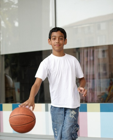 Portrait of boy with the ball. photo