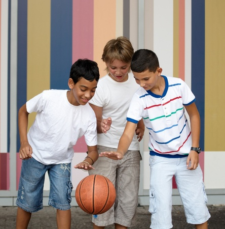 Children playing with a ball. Stock Photo