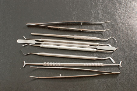 Set of metal medical equipment tools for teeth dental care . Stock Photo - 10081035