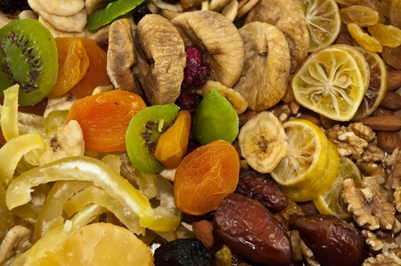 The traditional set of dried fruit for the Jewish holiday Tubishvat. Stock Photo