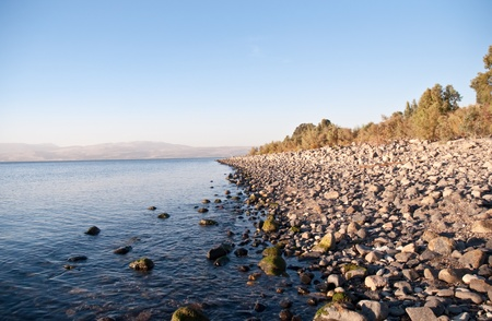 syria peace: Sea of Galilee .Landscape Of North Galilee In Early winter, Israel. Stock Photo