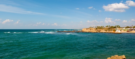 Old port of Caesarea in Israel with crystal clear water Historical landmark . Stock Photo - 11258227