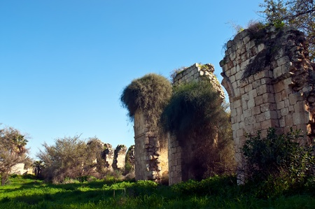 insurgents: Ruins of the walls of the eighth century. Ramla. Israel. Stock Photo