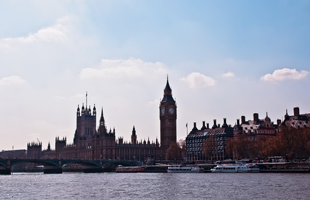 London Skyline showing Big Ben and Westminster Stock Photo - 13428728