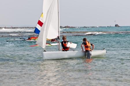Teenagers learning sailing boat  sailing on the coast of Bat Yam   Israel