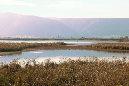 Valley  Agmon-Khula and  adjacent to the ridges and the Golan mountains of Naftali  Winter  Israel  photo