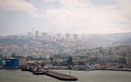 Sea Port of Haifa  Israel   Panoramic view  photo