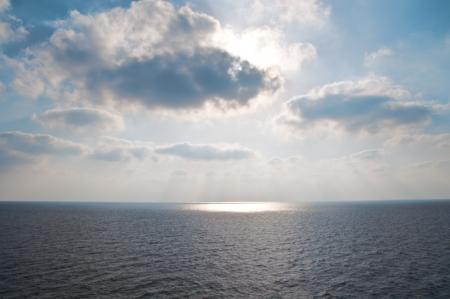 mediteranean: Beautiful blue  sky, sea and sun . Stock Photo