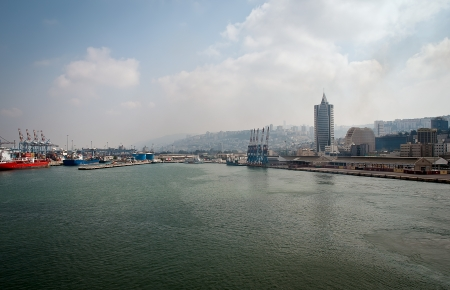 Sea Port of Haifa. Israel.Panoramic view. Stock Photo - 15579699