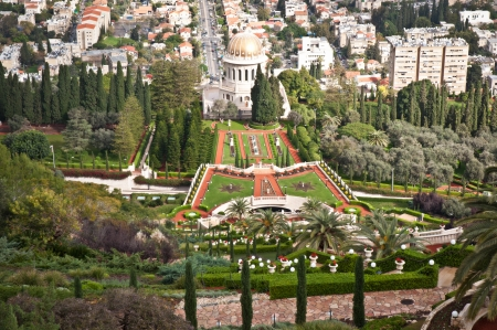 bahaullah: Bahai Gardens in Haifa Israel Stock Photo