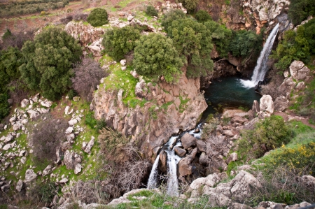 Banias Falls in the winter at the Golan Heights  Israel   photo