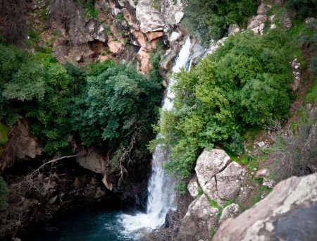 banias: Banias Falls in the winter at the Golan Heights  Israel   Stock Photo