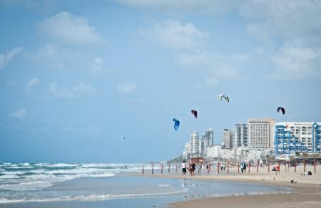 Surf beach  The border cities of Rishon Lezion and Bat Yam  Israel