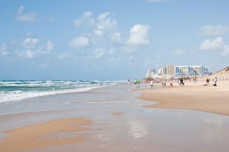 yam israel: City beach The border cities of Rishon Lezion and Bat Yam  Israel Editorial