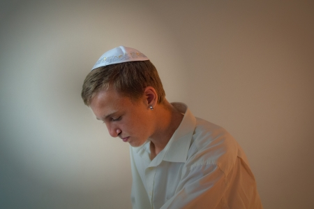 sephardi: Young Jewish man does  prayers . Stock Photo