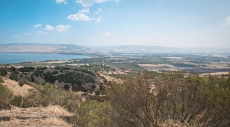View from Galilee Mountains to Galilee Sea, Kinneret    Israel