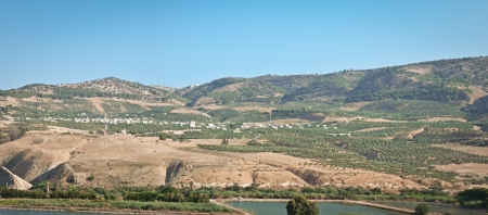 the golan heights: Mountains on the Golan Heights the junction of the borders of Israel, Jordan and Syria
