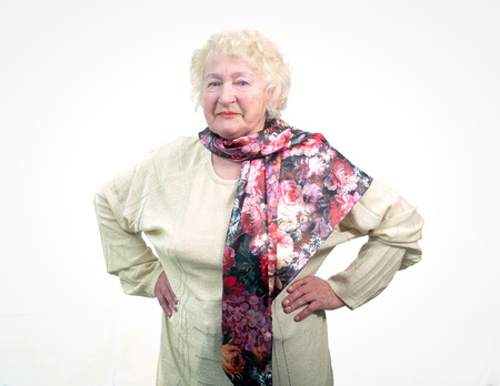 80s adult: Portrait of  80 years old cheerful woman . Stock Photo