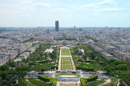 champ: Aerial View on Champ de Mars from the Eiffel Tower.Paris Stock Photo