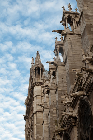 waterspout: Notre-Dame in Alencon, France - beautiful gothic style architecture of France .