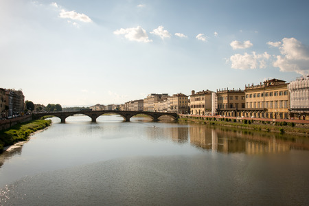 river arno: Cityscape of Florence, Italy with river Arno reflection .