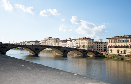 hdri: Cityscape of Florence, Italy with river Arno reflection .