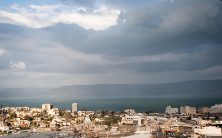 Top view of the residential neighborhoods of Tiberias , Israel . Stock Photo
