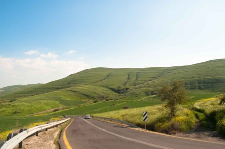 Road in the Golan Heights , early spring . Stock Photo