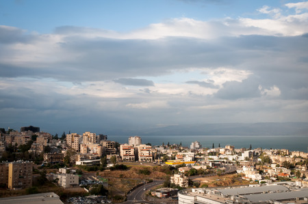Top view of the residential neighborhoods of Tiberias , Israel . Stock Photo