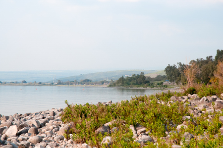 landscape of north israel with the view to Kinneret lake.