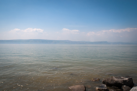 View of the sea of Galilee - Kineret lake , Israel . Stock Photo