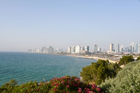 Panoramic view of Tel Aviv promenade on the Mediterranean coast, Israel. Standard-Bild - 136145708