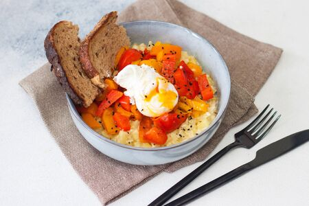Potato risotto with grilled red pepper, poached egg and warm bread. Comfort food.