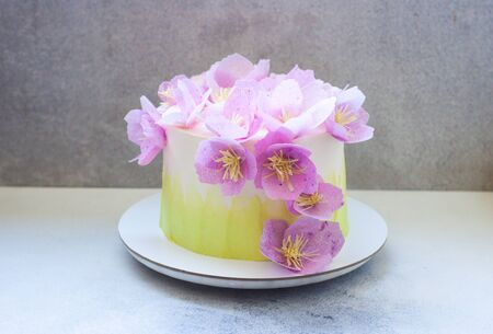 Tender green birthday cake with purple paper flowers on grey background. Stock Photo