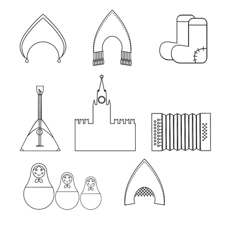 Russia country set icons in black style. Big collection of Russia country vector symbol