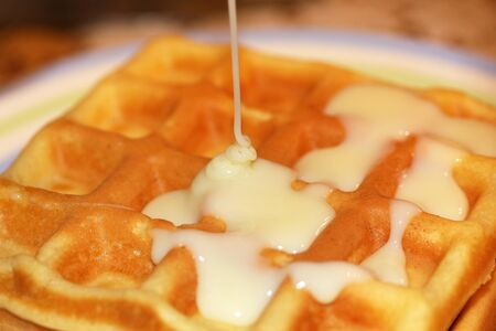 Sweet Homemade Belgian waffles with cream sauce