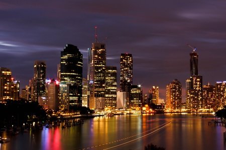 down lights: Night view of Brisbane City, Queensland Stock Photo